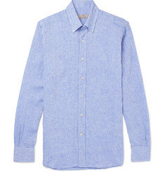 Canali - Button-Down Collar Slub Linen Shirt