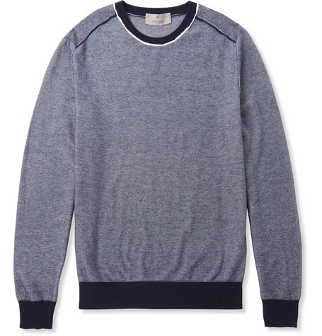 Canali Textured Cotton Sweater In Navy