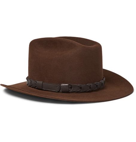 + Stetson Jack's Statesman Leather-trimmed Felt Hat - Brown