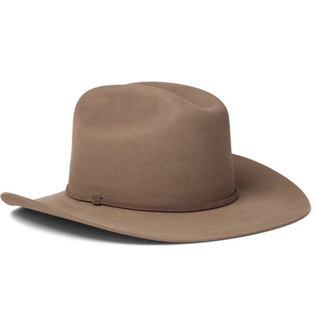 + Stetson Tequila's Statesman Leather-trimmed Felt Hat - Brown