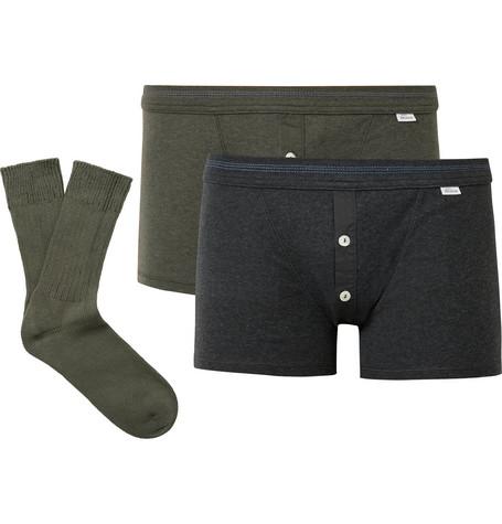 95271566ba Schiesser Karl Heinz Two-Pack Cotton Boxer Briefs And Socks Set In Multi