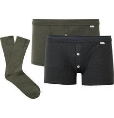 Schiesser Karl Heinz Two-Pack Cotton Boxer Briefs and Socks Set