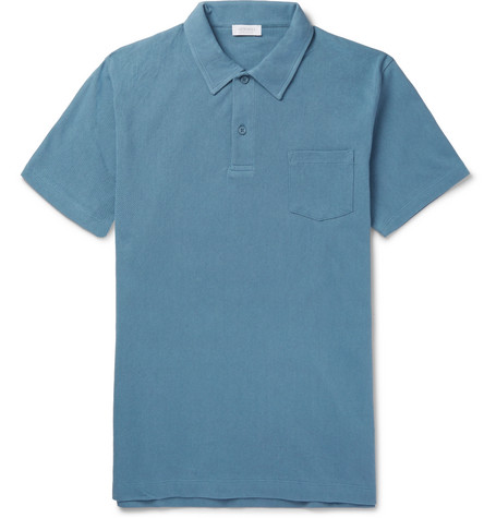 Sunspel Riviera Slim-fit Cotton-mesh Polo Shirt - Pink ODKfxs