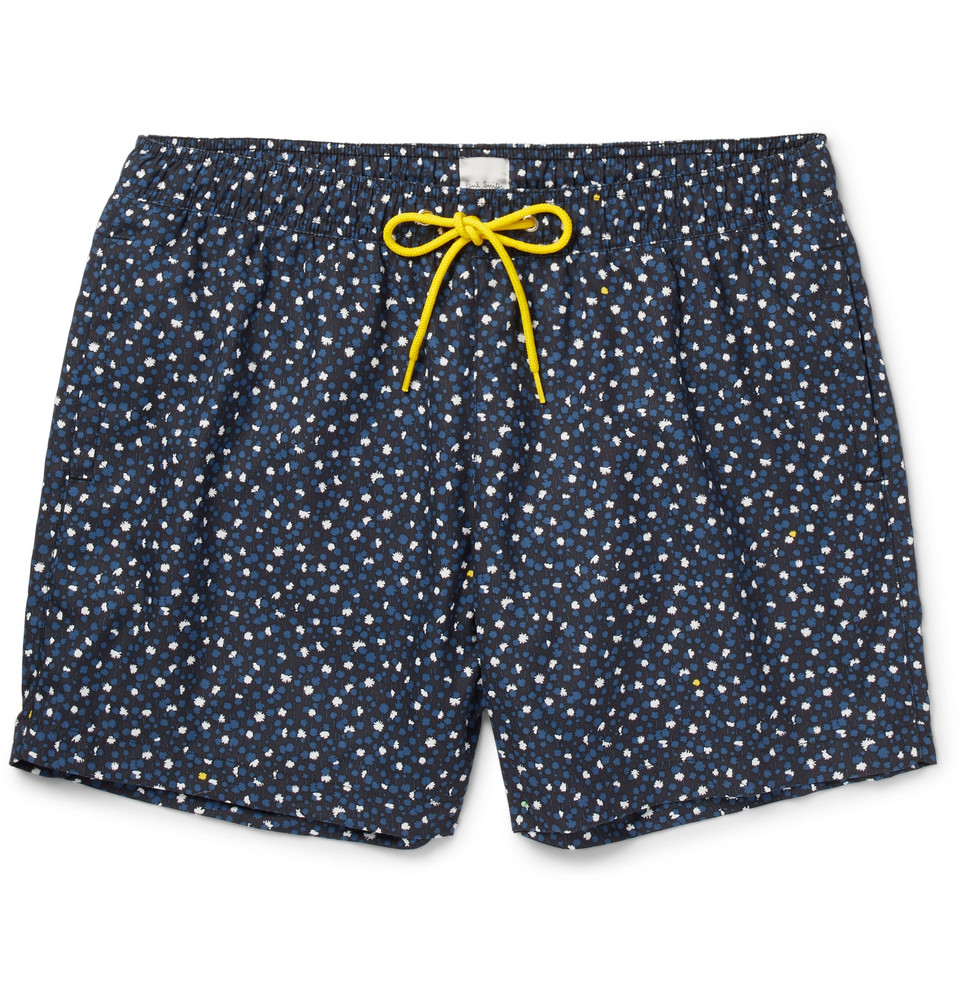 Mid-length Printed Swim Shorts - Midnight blue