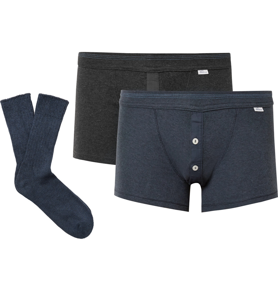 Karl Heinz Two-pack Cotton Boxer Briefs And Socks Set - Multi