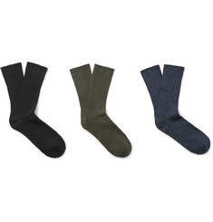Schiesser Three-Pack Stretch Cotton-Blend Socks