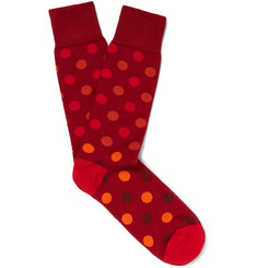 Paul Smith Polka-Dot Mercerised Stretch Cotton-Blend Socks