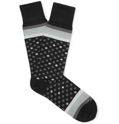Paul Smith Polka-Dot and Striped Stretch Cotton-Blend Socks