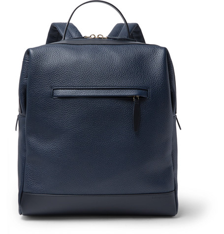 GLOBE-TROTTER Propeller Pebble-Grain Leather Backpack in Navy
