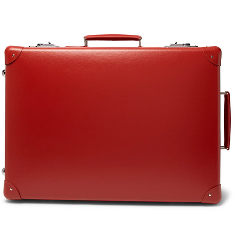 "GLOBE-TROTTER 20"" Leather-Trimmed Suitcase in Red"
