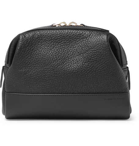 GLOBE-TROTTER Propellor Pebble-Grain Leather Wash Bag in Black
