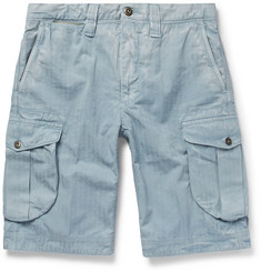 Incotex Herringbone Washed-Cotton Cargo Shorts