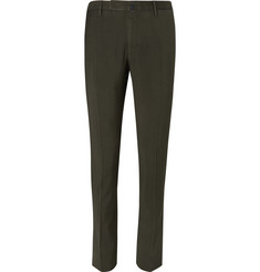 Incotex Slim-Fit Garment-Dyed Puppytooth Cotton Trousers