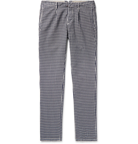 Incotex Slim-fit Gingham Cotton Trousers In Navy