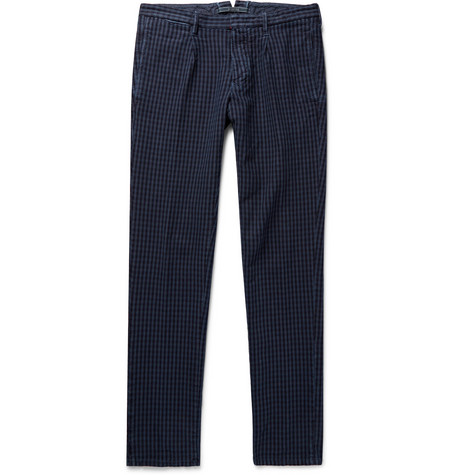 Incotex Slim-fit Gingham Cotton Trousers - Navy