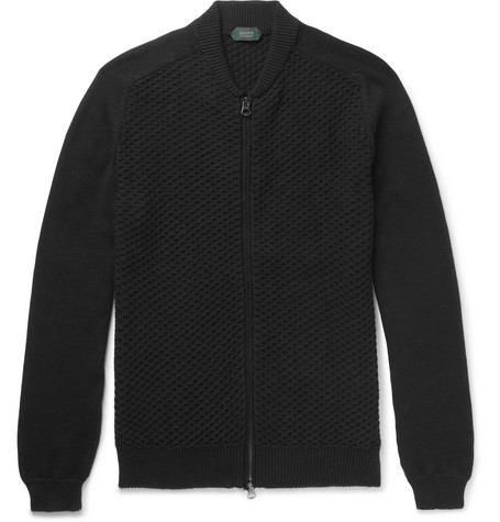 Waffle-knit Cotton Bomber Jacket - Black