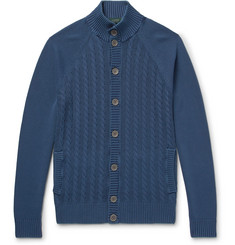 Incotex Garment-Dyed Cable-Knit Cotton Cardigan