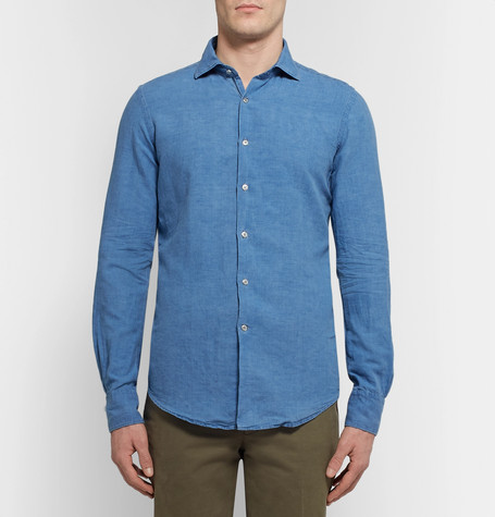 Slim Fit Slub Linen And Cotton Blend Chambray Shirt by Incotex