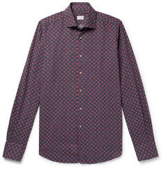 Incotex Printed Cotton and Linen-Blend Shirt