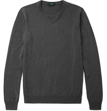 Incotex Mélange Cotton Sweater - Gray O8dvJnV
