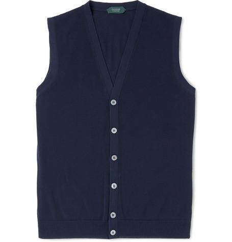 Incotex Cotton Vest In Navy