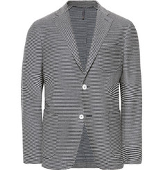Incotex Navy Slim-Fit Unstructured Striped Cotton Blazer