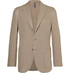 Incotex - Mushroom Unstructured Basketweave Cotton-Blend Blazer