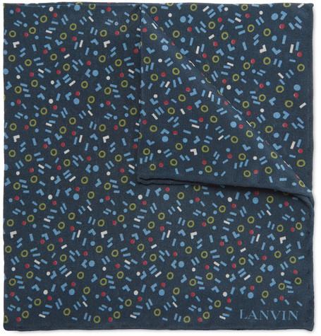 Lanvin Printed Silk Pocket Square In Navy