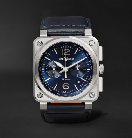 Bell & Ross BR 03-94 42mm Steel and Leather Chronograph Watch, Ref. No. BR0394-­?BLU-­?ST/SCA