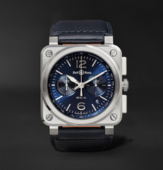 Bell & Ross - BR 03-94 42mm Steel and Leather Chronograph Watch