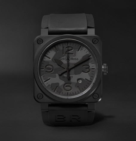 Br 03-92 Black Camo 42mm Ceramic And Rubber Watch - Black