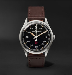 Bell & Ross - BR V1-92 Military Automatic 38.5mm Stainless Steel and Leather Watch