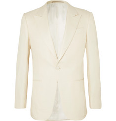 Ermenegildo Zegna Cream Basketweave Silk Tuxedo Jacket