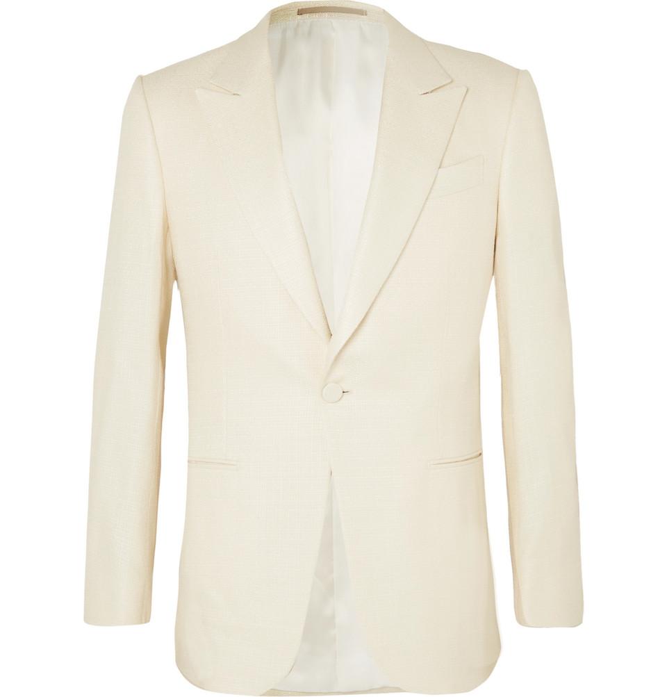 Cream Basketweave Silk Tuxedo Jacket - Cream