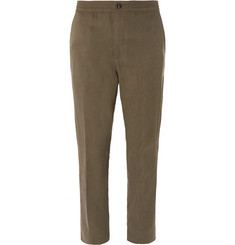 Ermenegildo Zegna Olive Slim-Fit Tapered Silk and Linen-Blend Suit Trousers