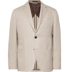 Ermenegildo Zegna Beige Silk and Linen-Blend Blazer