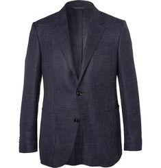 Ermenegildo Zegna Navy Milano Textured Wool, Silk and Linen-Blend Blazer