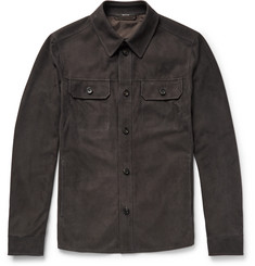 Ermenegildo Zegna Slim-Fit Perforated Suede Overshirt