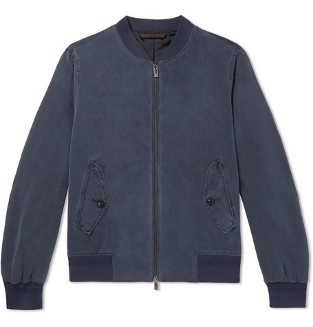 Washed-silk Bomber Jacket - Navy