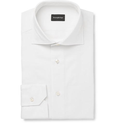 White Slim-fit Cutaway-collar Cotton-piqué Shirt - White