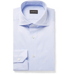 Ermenegildo Zegna - Blue Slim-Fit Cutaway-Collar Striped Cotton-Twill Shirt