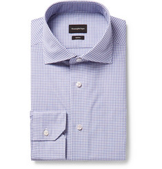 Ermenegildo Zegna - Trofeo Slim-Fit Cutaway-Collar Checked Cotton-Poplin Shirt