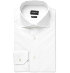Ermenegildo Zegna - White Slim-Fit Cutaway-Collar Cotton-Poplin Shirt