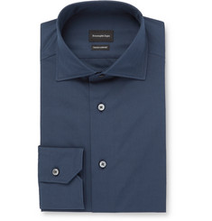 Ermenegildo Zegna - Blue Trofeo Slim-Fit Cutaway-Collar Cotton-Poplin Shirt