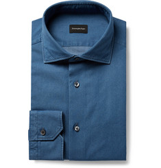 Ermenegildo Zegna - Indigo Slim-Fit Cutaway-Collar Cotton-Chambray Shirt