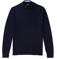 Ermenegildo Zegna Slim-Fit Suede-Trimmed Waffle-Knit Wool Half-Zip Sweater