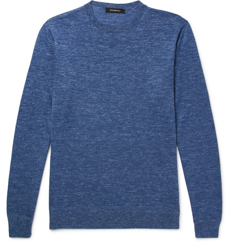 Mélange Cashmere, Silk And Linen-blend Sweater - Blue