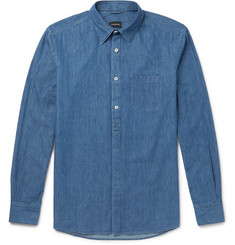 Ermenegildo Zegna - Railroader Cotton-Chambray Half-Placket Shirt