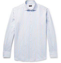 Ermenegildo Zegna Cutaway-Collar Striped Slub Linen and Cotton-Blend Shirt