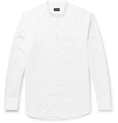 Ermenegildo Zegna Grandad-Collar Cotton and Linen-Blend Shirt